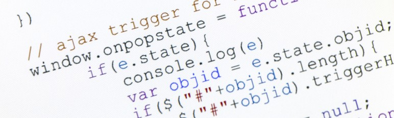close up photograph of generic javascript code on computer monitor