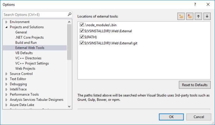 External Web Tools in Visual Studio 2015