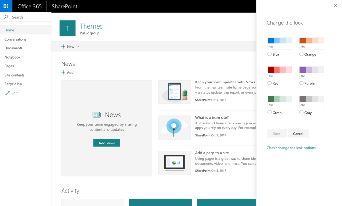 Theme in Office 365 Group