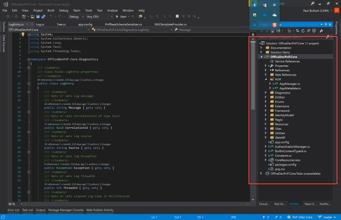 PnP-Core-VisualStudio-SolutionExplorer